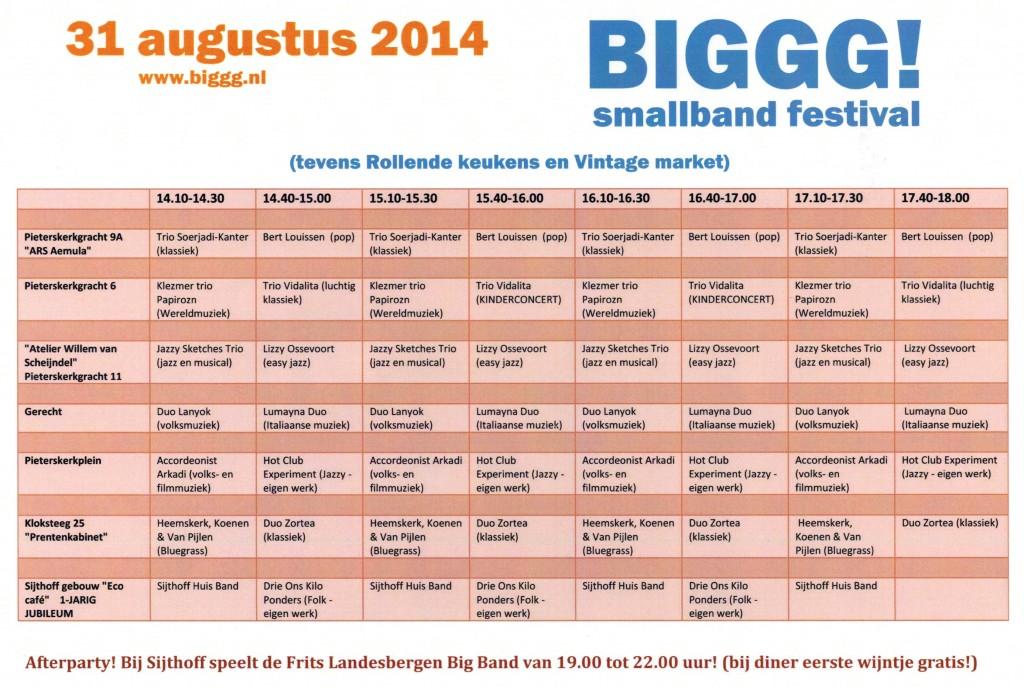BIGGG Smallbands Festival 31 augustus '14 te Leiden samen met Rollende Keukens, Vintage Markt en Verrassend Winkel Weekend.